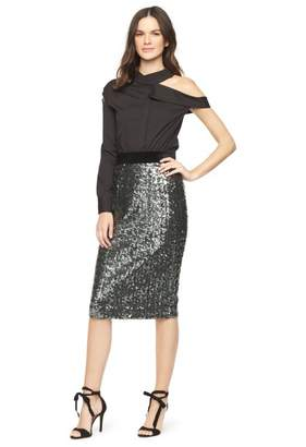 Milly Sea Glass Sequins Classic Midi Skirt
