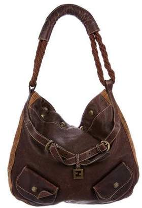 Fendi Zucchino- Suede-Trimmed Leather Hobo