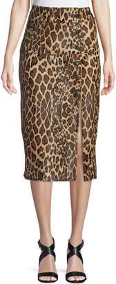 Skiim High-Waist Leopard-Print Calf Hair Pencil Skirt with 6-Button Side Slit