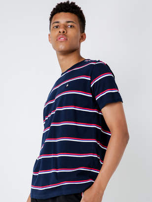 Le Coq Sportif Julien T-Shirt in Dress Blue Red White Stripe