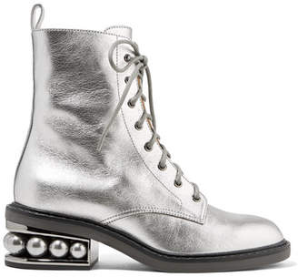 Nicholas Kirkwood Casati Embellished Metallic Textured-leather Ankle Boots - Silver