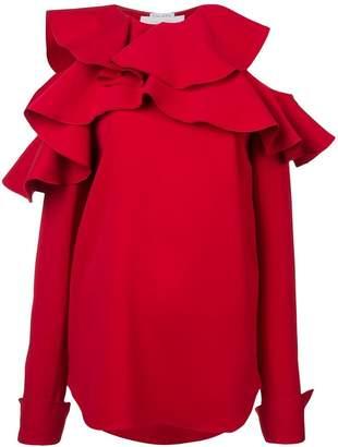 Oscar de la Renta ruffled cold shoulder blouse