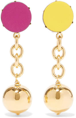Marni Orbit Gold-tone Leather Clip Earrings