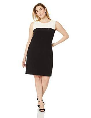 Nine West Women's Crepe A LINE Scalloped Dress