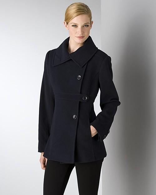 DKNY Women's Ava Asymmetrical Pea Coat