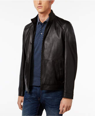 Michael Kors Men's Leather Racer Jacket