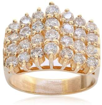 14K Yellow Gold 1.50 Ct Round Cut Prong Setting Diamond Cluster Pyramid Ring Size 8.75