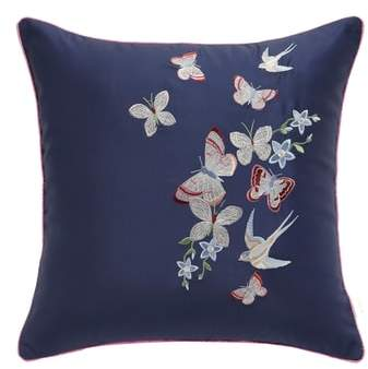 Butterfly Embroidered Accent Pillow