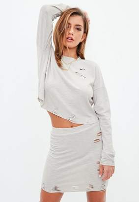 Missguided Grey Ribbed Distressed Mini Skirt, Grey
