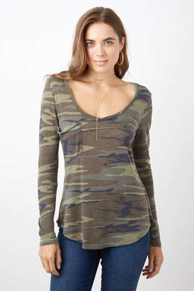 Z Supply V Neck Camo Distressed Long Sleeve Tee