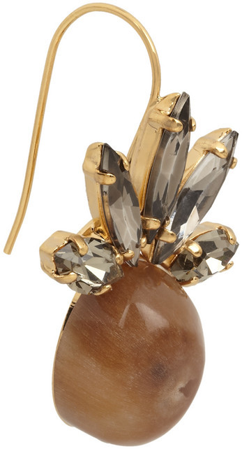 Marni Gold-plated, Swarovski crystal and horn earrings