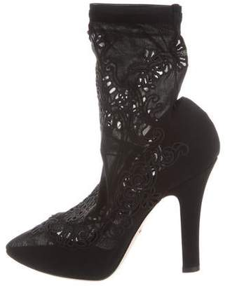 Dolce & Gabbana Embroidered Ankle Boots w/ Tags