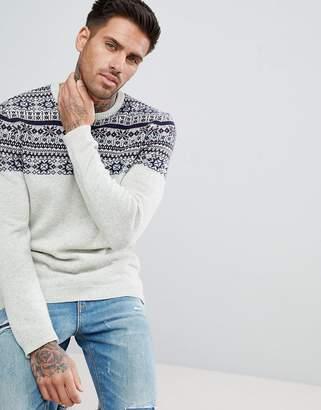 Asos Lambswool Fairisle Sweater In Ecru