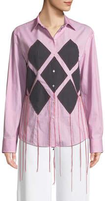 Cédric Charlier Diamond-Applique Long-Sleeve Button-Down Striped Shirt