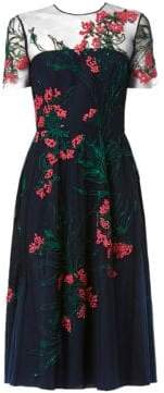 Carolina Herrera Illusion Floral-Embroidered A-Line Cocktail Dress