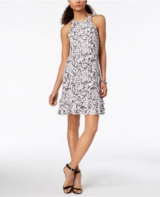 MSK Oscar Sequined Floral Ruffle Dress
