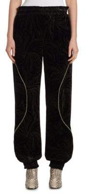 Chloé Gold Pigment-Print Velvet Track Pants