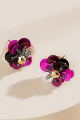francesca's Cynthia Floral Sequined Stud Earrings - Raspberry
