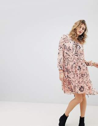 Maison Scotch Printed Oversized Dress With Lace Up Detail