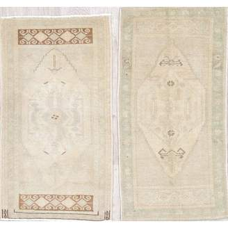 """Loon Peak One-of-a-Kind Polk Antique-Washed Muted Turkish 2 Piece Hand-Knotted 1'8"""" x 3'3"""" Wool Beige/Ivory Area Rug Set Loon Peak"""