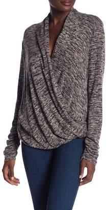 Max Studio Mock Wrap Long Sleeve Sweater