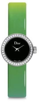 Christian Dior La Mini D de Diamond, Stainless Steel& Gradient Patent Leather Strap Watch