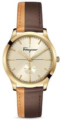 Salvatore Ferragamo Slim Formal Brown & Orange Strap Watch, 40mm