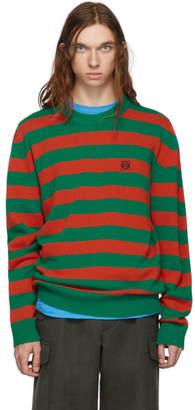 Loewe Green and Orange Stripe Anagram Sweater