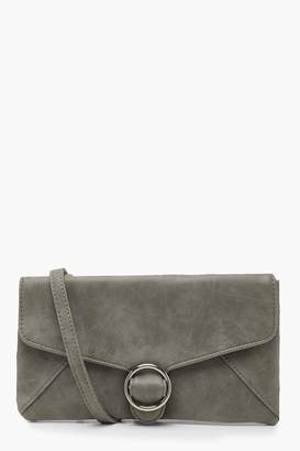 boohoo Ring Buckle Clutch With Strap