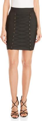 Twelfth Love Black Lace-Up Bandage Skirt