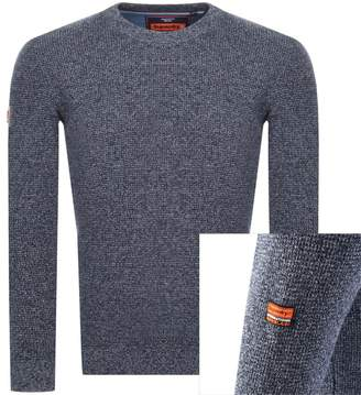 Stadium Crew Neck Knit Jumper Blue