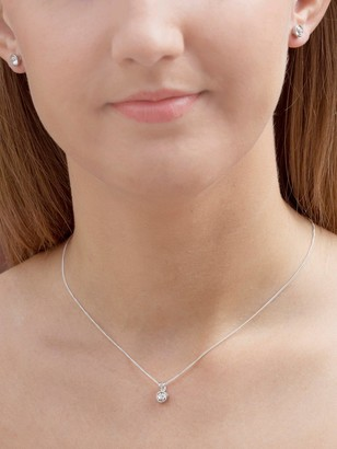 Swarovski The Love Silver Collection Sterling Silver Clear Crystal Earrings and Pendant Necklace Set