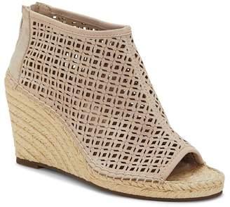 Vince Camuto Women's Lereena Caged Leather Peep Toe Espadrille Wedge Sandals