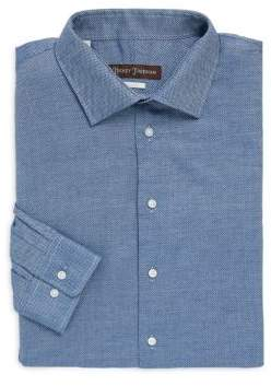 Hickey Freeman Classic-Fit Dot-Print Dress Shirt