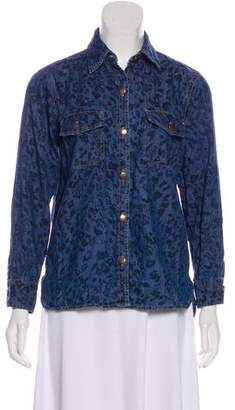 Current/Elliott Animal Print Denim Shirt