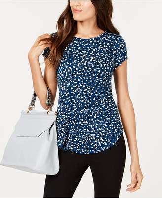 Alfani Petite Printed Round-Hem T-Shirt, Created for Macy's