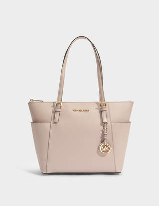 MICHAEL Michael Kors Jet Set Item East-West Top Zip Tote Bag in Soft Pink Saffia Leather