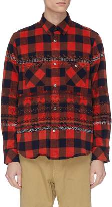 Sacai Geometric embroidered gingham check flannel shirt