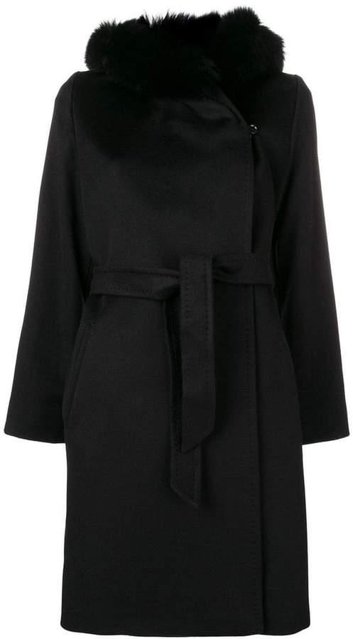 hooded belted midi coat