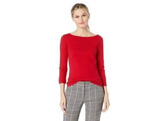 Three Dots 100% Cotton Heritage Knit 3/4 Sleeve British Tee
