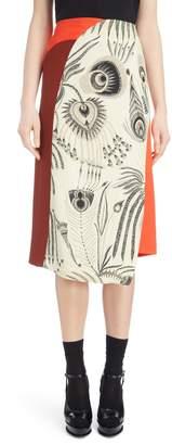 Dries Van Noten Asymmetrical Colorblock Print Skirt