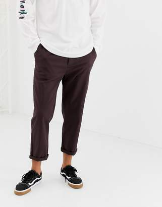 Asos DESIGN relaxed cropped chinos in dark brown