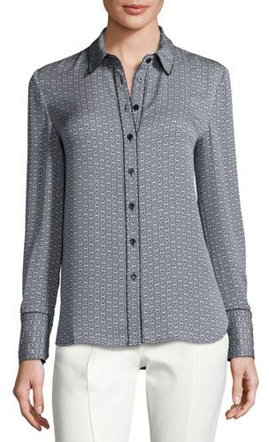 Tory BurchTory Burch Cherie Printed Silk Button-Front Blouse, New Ivory/Midnight