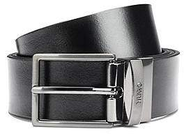 HUGO BOSS Reversible leather belt with textured metal pin and plaque buckles