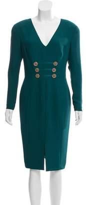 Versace Long Sleeve Midi Dress