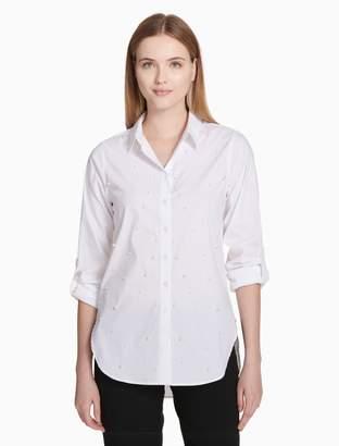 Calvin Klein pearl button-down boyfriend shirt