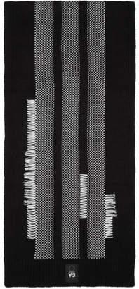 Y-3 Y 3 Black and White Knit Scarf
