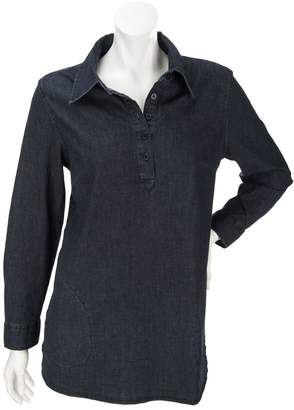 Denim & Co. Petite Stretch Denim Long Sleeve Shirt
