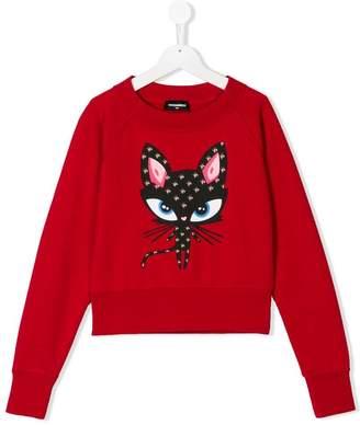 DSQUARED2 floral cat print sweatshirt
