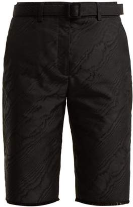 Off-White High-rise belted moire shorts